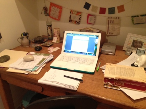 My messy desk where I write gadzillion versions of everything!