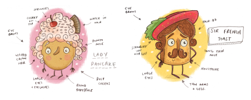 Lady Pancake and Sir French Toast Sketch